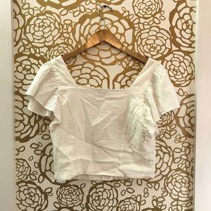 Zara Tops - Zara White Button Front Square Neckline Blouse